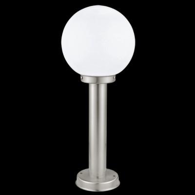 Eglo NISIA 30206 уличные светильникиОдиночные столбы<br><br><br>Тип лампы: накаливания / энергосберегающая / светодиодная<br>Тип цоколя: E27<br>Количество ламп: 1<br>MAX мощность ламп, Вт: 1X60W<br>Диаметр, мм мм: 200<br>Размеры основания, мм: 130<br>Высота, мм: 500<br>Поверхность арматуры: глянцевый<br>Оттенок (цвет): белый<br>Цвет арматуры: сталь<br>Общая мощность, Вт: 2