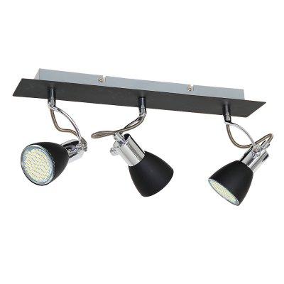 Luminex KELLY 6138 споттройные споты<br><br><br>S освещ. до, м2: 6<br>Крепление: настенное или потолочное<br>Тип цоколя: GU10<br>Цвет арматуры: серебристый хром, Чёрный<br>Количество ламп: 3<br>Ширина, мм: 100<br>Длина, мм: 420<br>Высота, мм: 210<br>MAX мощность ламп, Вт: 40