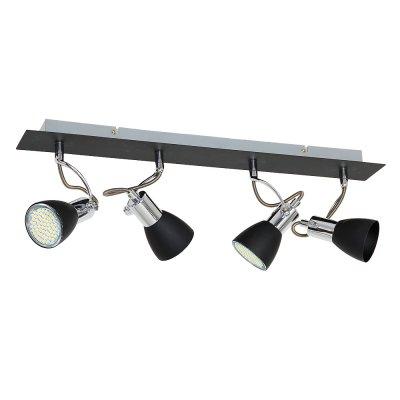 Luminex KELLY 6139 спотспоты 4 лампы<br><br><br>S освещ. до, м2: 8<br>Крепление: настенное или потолочное<br>Тип цоколя: GU10<br>Цвет арматуры: серебристый хром, Чёрный<br>Количество ламп: 4<br>Ширина, мм: 100<br>Длина, мм: 560<br>Высота, мм: 210<br>MAX мощность ламп, Вт: 40