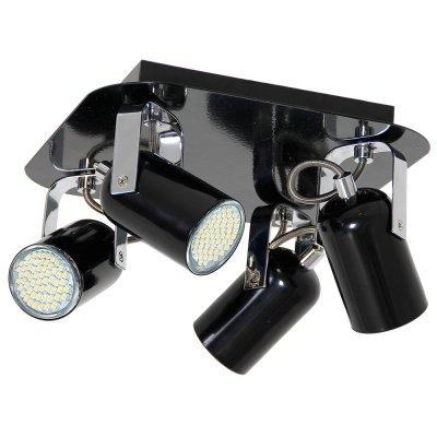 Luminex NICK 6143 спотспоты 4 лампы<br><br><br>S освещ. до, м2: 12<br>Крепление: настенное или потолочное<br>Тип цоколя: GU10<br>Цвет арматуры: черный, Хром<br>Количество ламп: 4<br>Ширина, мм: 290<br>Длина, мм: 290<br>Высота, мм: 150<br>MAX мощность ламп, Вт: 60