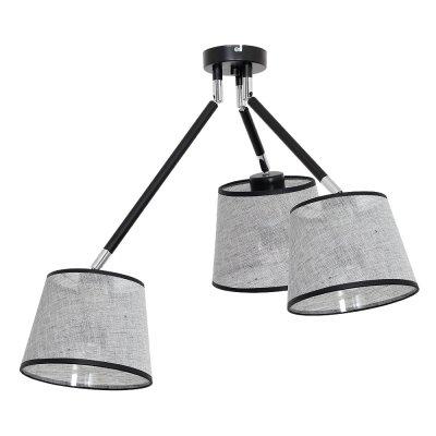Luminex AXEL 7370 потолочный светильниклюстры поворотные<br><br><br>Установка на натяжной потолок: Да<br>S освещ. до, м2: 9<br>Крепление: Потолочное<br>Тип цоколя: E27<br>Цвет арматуры: серебристый хром, Чёрный<br>Количество ламп: 3<br>Диаметр, мм мм: 400<br>Высота, мм: 600<br>MAX мощность ламп, Вт: 60