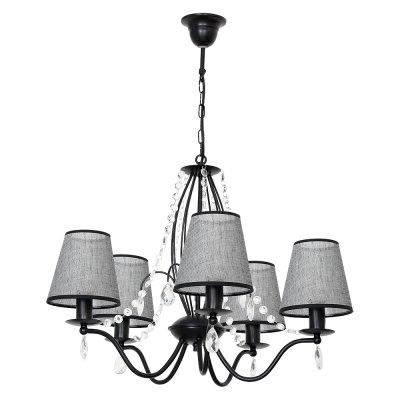 Luminex SIMONE 7556 потолочный светильниксовременные подвесные люстры модерн<br><br><br>Установка на натяжной потолок: Да<br>S освещ. до, м2: 15<br>Крепление: Потолочное<br>Тип цоколя: E27<br>Цвет арматуры: Черный<br>Количество ламп: 5<br>Диаметр, мм мм: 640<br>Высота, мм: 780<br>MAX мощность ламп, Вт: 60