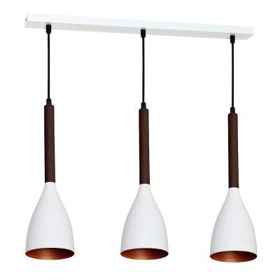 Luminex MUZA WHITE/GOLD DARK WOOD 9155 потолочный светильникТройные<br><br><br>S освещ. до, м2: 9<br>Крепление: Потолочное<br>Тип цоколя: E27<br>Цвет арматуры: Белый, Тёмное дерево<br>Количество ламп: 3<br>Ширина, мм: 110<br>Длина, мм: 560<br>Высота, мм: 780<br>MAX мощность ламп, Вт: 60