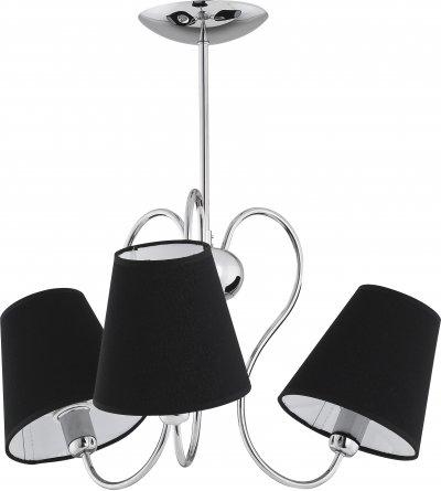Alfa RIBERA 11553 потолочный светильниклюстры потолочные классические<br><br><br>Установка на натяжной потолок: Да<br>S освещ. до, м2: 6<br>Крепление: Потолочное<br>Тип цоколя: E14<br>Цвет арматуры: серебристый хром<br>Количество ламп: 3<br>Диаметр, мм мм: 470<br>Размеры: размер коробки 40x40x30см.<br>Высота, мм: 500<br>MAX мощность ламп, Вт: 40