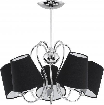 Alfa RIBERA 11555 потолочный светильниксовременные потолочные люстры модерн<br><br><br>Установка на натяжной потолок: Да<br>S освещ. до, м2: 10<br>Крепление: Потолочное<br>Тип цоколя: E14<br>Цвет арматуры: серебристый хром<br>Количество ламп: 5<br>Диаметр, мм мм: 530<br>Размеры: размер коробки 45x45x40см.<br>Высота, мм: 500<br>MAX мощность ламп, Вт: 40