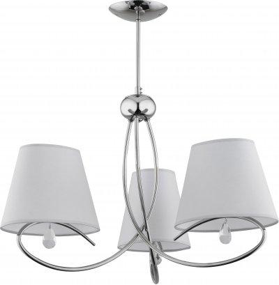 Alfa SIENA 20433 потолочный светильниксовременные потолочные люстры модерн<br><br><br>Установка на натяжной потолок: Да<br>S освещ. до, м2: 6<br>Крепление: Потолочное<br>Тип цоколя: E14<br>Цвет арматуры: серебристый хром<br>Количество ламп: 3<br>Диаметр, мм мм: 650<br>Размеры: размер коробки 45x45x40см.<br>Высота, мм: 410<br>MAX мощность ламп, Вт: 40