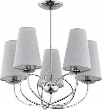 Alfa RETE 20445 потолочный светильникПотолочные<br><br><br>Установка на натяжной потолок: Да<br>S освещ. до, м2: 10<br>Крепление: Потолочное<br>Тип цоколя: E14<br>Цвет арматуры: серебристый хром<br>Количество ламп: 5<br>Диаметр, мм мм: 610<br>Размеры: размер коробки 48x48x33см.<br>Высота, мм: 545<br>MAX мощность ламп, Вт: 40