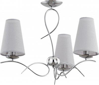 Alfa ETNA 21233 потолочный светильниксовременные потолочные люстры модерн<br><br><br>Установка на натяжной потолок: Да<br>S освещ. до, м2: 6<br>Крепление: Потолочное<br>Тип цоколя: E14<br>Цвет арматуры: серебристый хром<br>Количество ламп: 3<br>Диаметр, мм мм: 580<br>Размеры: размер коробки 45x45x40см.<br>Высота, мм: 480<br>MAX мощность ламп, Вт: 40
