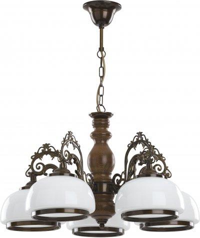 Alfa PARMA 16945 потолочный светильникПодвесные<br><br><br>Установка на натяжной потолок: Да<br>S освещ. до, м2: 15<br>Крепление: Потолочное<br>Тип цоколя: E27<br>Цвет арматуры: Венге, Коричневый<br>Количество ламп: 5<br>Диаметр, мм мм: 570<br>Высота, мм: 640<br>MAX мощность ламп, Вт: 60