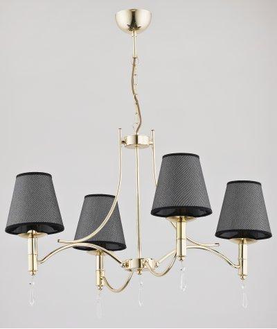 Alfa ABIL BLACK GOLD 23024 потолочный светильникПодвесные<br><br><br>Установка на натяжной потолок: Да<br>S освещ. до, м2: 8<br>Крепление: Потолочное<br>Тип цоколя: E14<br>Цвет арматуры: золотой<br>Количество ламп: 4<br>MAX мощность ламп, Вт: 40