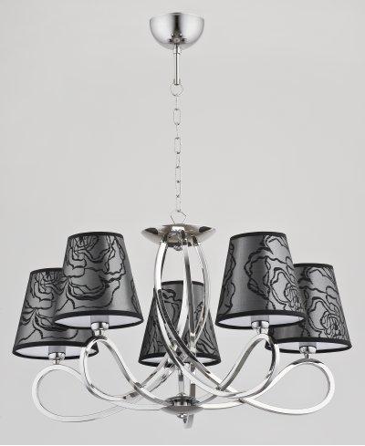 Alfa WILLMA BLACK 23585 потолочный светильникПодвесные<br><br><br>Установка на натяжной потолок: Да<br>S освещ. до, м2: 10<br>Крепление: Потолочное<br>Тип цоколя: E14<br>Цвет арматуры: серебристый хром<br>Количество ламп: 5<br>MAX мощность ламп, Вт: 40