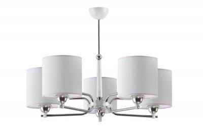 Jupiter TWINGO 1405 TW 5 B потолочный светильникПотолочные<br><br><br>Установка на натяжной потолок: Да<br>S освещ. до, м2: 15<br>Крепление: Потолочное<br>Тип цоколя: E27<br>Цвет арматуры: серебристый хром, Белый<br>Количество ламп: 5<br>Диаметр, мм мм: 720<br>Размеры: размер коробки 37x64x64см.<br>Высота, мм: 600<br>MAX мощность ламп, Вт: 60