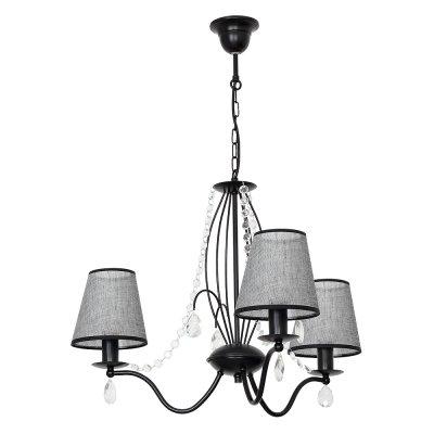 Luminex SIMONE 7555 потолочный светильниксовременные подвесные люстры модерн<br><br><br>Установка на натяжной потолок: Да<br>S освещ. до, м2: 9<br>Крепление: Потолочное<br>Тип цоколя: E27<br>Цвет арматуры: Черный<br>Количество ламп: 3<br>Диаметр, мм мм: 640<br>Размеры: размер коробки 44x52x52см.<br>Высота, мм: 780<br>MAX мощность ламп, Вт: 60