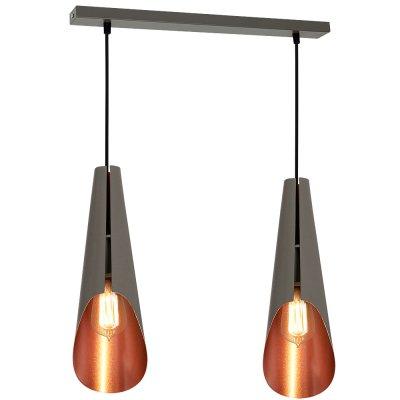 Luminex CALYX 9178 потолочный светильникДвойные<br><br><br>S освещ. до, м2: 6<br>Крепление: Потолочное<br>Тип цоколя: E27<br>Цвет арматуры: Серый<br>Количество ламп: 2<br>Ширина, мм: 120<br>Длина, мм: 300<br>Высота, мм: 1100<br>MAX мощность ламп, Вт: 60
