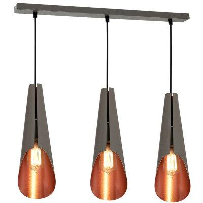 Luminex CALYX 9179 потолочный светильниктройные подвесные светильники<br><br><br>S освещ. до, м2: 9<br>Крепление: Потолочное<br>Тип цоколя: E27<br>Цвет арматуры: Серый<br>Количество ламп: 3<br>Ширина, мм: 120<br>Длина, мм: 500<br>Высота, мм: 1100<br>MAX мощность ламп, Вт: 60