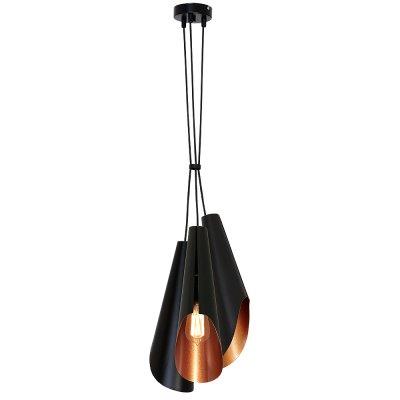Luminex CALYX 9185 потолочный светильникподвесные люстры лофт<br><br><br>Установка на натяжной потолок: Да<br>S освещ. до, м2: 9<br>Крепление: Потолочное<br>Тип цоколя: E27<br>Цвет арматуры: Черный<br>Количество ламп: 3<br>Диаметр, мм мм: 250<br>Размеры: размер коробки 45x22x22см.<br>Высота, мм: 1100<br>MAX мощность ламп, Вт: 60