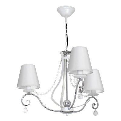 Luminex VERA 8705 потолочный светильникПодвесные<br><br><br>Установка на натяжной потолок: Да<br>S освещ. до, м2: 9<br>Крепление: Потолочное<br>Тип цоколя: E14<br>Цвет арматуры: Белый, Хром<br>Количество ламп: 3<br>Диаметр, мм мм: 660<br>Размеры: размер коробки 44x52x52см.<br>Высота, мм: 710<br>MAX мощность ламп, Вт: 60