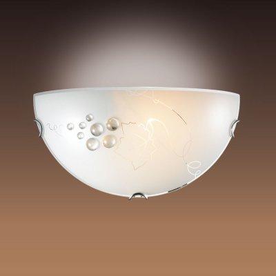 Светильник бра Сонекс 004 хром/белый/декор прозрачн TRAUBEНакладные<br><br><br>S освещ. до, м2: 6<br>Тип лампы: накаливания / энергосбережения / LED-светодиодная<br>Тип цоколя: E27<br>Количество ламп: 1<br>Ширина, мм: 300<br>MAX мощность ламп, Вт: 100<br>Цвет арматуры: серебристый
