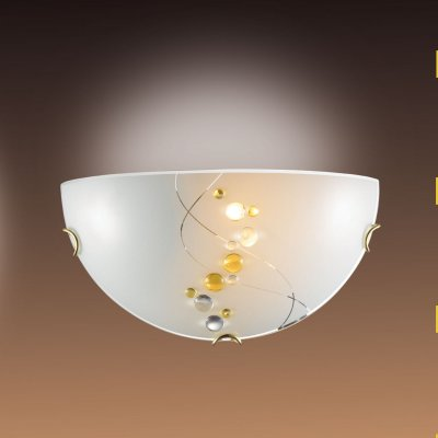 Светильник бра Сонекс 007 золото/белый/декор желт BARLIНакладные<br><br><br>S освещ. до, м2: 6<br>Тип лампы: накаливания / энергосбережения / LED-светодиодная<br>Тип цоколя: E27<br>Цвет арматуры: золотой<br>Количество ламп: 1<br>Ширина, мм: 300<br>MAX мощность ламп, Вт: 100