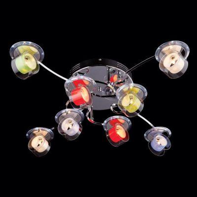 Люстра разноцветная Евросвет 0174/8Потолочные<br>Компания «Светодом» предлагает широкий ассортимент люстр от известных производителей. Представленные в нашем каталоге товары выполнены из современных материалов и обладают отличным качеством. Благодаря широкому ассортименту Вы сможете найти у нас люстру под любой интерьер. Мы предлагаем как классические варианты, так и современные модели, отличающиеся лаконичностью и простотой форм. <br>Стильная люстра Евросвет 0174/8 станет украшением любого дома. Эта модель от известного производителя не оставит равнодушным ценителей красивых и оригинальных предметов интерьера. Люстра Евросвет 0174/8 обеспечит равномерное распределение света по всей комнате. При выборе обратите внимание на характеристики, позволяющие приобрести наиболее подходящую модель.<br><br>Установка на натяжной потолок: Ограничено<br>S освещ. до, м2: 20<br>Крепление: Планка<br>Тип лампы: галогенная / LED-светодиодная<br>Тип цоколя: G4<br>Количество ламп: 8<br>MAX мощность ламп, Вт: 20<br>Диаметр, мм мм: 850<br>Высота, мм: 240<br>Цвет арматуры: серебристый