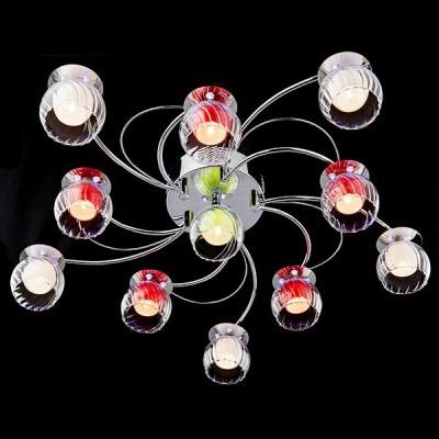 Светильник Евросвет 0185/11 хром/бело-синийПотолочные<br><br><br>Установка на натяжной потолок: Ограничено<br>S освещ. до, м2: 11<br>Крепление: Планка<br>Тип лампы: галогенная/LED<br>Тип цоколя: G4<br>Количество ламп: 11<br>MAX мощность ламп, Вт: 20<br>Диаметр, мм мм: 750<br>Высота, мм: 150<br>Цвет арматуры: серебристый