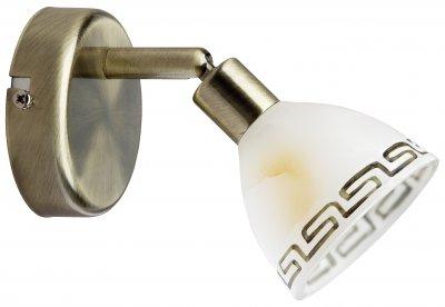 Светильник бра Brilliant G02110/31 MurciaОдиночные<br>Зачастую мы ищем идеальное освещение для своего дома и уделяем этому достаточно много времени. Так, например, если нам нужен светильник с количеством ламп - 1 и цвет плафонов должен быть - белый алебастр с орнаментом, а материал плафонов только стекло! То нам, как вариант, подойдет модель - БраMurcia Brilliant G02110/31.<br><br>S освещ. до, м2: 2<br>Тип лампы: галогенная / LED-светодиодная<br>Тип цоколя: G9<br>Количество ламп: 1<br>MAX мощность ламп, Вт: 40<br>Диаметр, мм мм: 85<br>Цвет арматуры: бронзовый