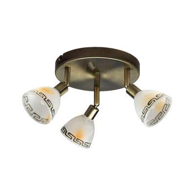 Светильник греческий Brilliant G02134/31 MurciaТройные<br>Зачастую мы ищем идеальное освещение для своего дома и уделяем этому достаточно много времени. Так, например, если нам нужен светильник с количеством ламп - 3 и цвет плафонов должен быть - белый алебастр с орнаментом, а материал плафонов только стекло! То нам, как вариант, подойдет модель - система спотов Brilliant G02134/31.<br><br>S освещ. до, м2: 8<br>Тип лампы: галогенная / LED-светодиодная<br>Тип цоколя: G9<br>Количество ламп: 3<br>MAX мощность ламп, Вт: 40<br>Диаметр, мм мм: 190<br>Выступ, мм: 175<br>Цвет арматуры: бронзовый