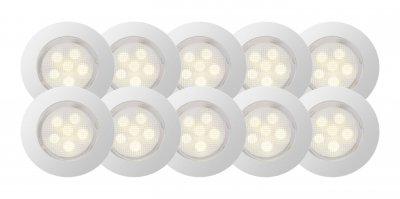 Светильник Brilliant G03094/75 CosaКруглые LED<br>Зачастую мы ищем идеальное освещение для своего дома и уделяем этому достаточно много времени. Так, например, если нам нужен светильник с количеством ламп - 10 и цвет плафонов должен быть - неокрашенный, а материал плафонов только стекло! То нам, как вариант, подойдет модель - светильник Brilliant G03094/75.<br><br>Тип товара: Светильник встраиваемый<br>Тип лампы: LED - светодиодная<br>Тип цоколя: LED<br>Количество ламп: 10<br>Диаметр, мм мм: 45<br>Цвет арматуры: серебристый