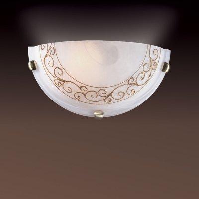 Светильник Сонекс 031 золото Barocco OroНакладные<br><br><br>S освещ. до, м2: 6<br>Тип лампы: накаливания / энергосбережения / LED-светодиодная<br>Тип цоколя: E27<br>Количество ламп: 1<br>Ширина, мм: 300<br>MAX мощность ламп, Вт: 100<br>Высота, мм: 150<br>Цвет арматуры: бронзовый