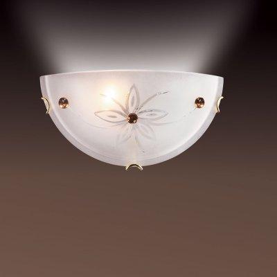 Светильник Сонекс 049 золото FloretНакладные<br><br><br>S освещ. до, м2: 6<br>Тип лампы: накаливания / энергосбережения / LED-светодиодная<br>Тип цоколя: E27<br>Количество ламп: 1<br>Ширина, мм: 300<br>MAX мощность ламп, Вт: 100<br>Высота, мм: 150<br>Цвет арматуры: золотой