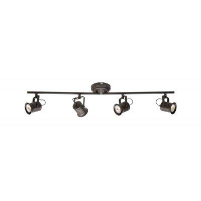 Светильник черный Brilliant G05732/20 CapС 4 лампами<br>Зачастую мы ищем идеальное освещение для своего дома и уделяем этому достаточно много времени. Так, например, если нам нужен светильник с количеством ламп - 4 и цвет плафонов должен быть - шоколадный, а материал плафонов только металл! То нам, как вариант, подойдет модель - система спотов Brilliant G05732/20.<br><br>S освещ. до, м2: 13<br>Тип товара: Светильник поворотный спот<br>Тип лампы: галогенная / LED-светодиодная<br>Тип цоколя: GU10<br>Количество ламп: 4<br>Ширина, мм: 880<br>MAX мощность ламп, Вт: 50<br>Диаметр, мм мм: 90<br>Длина, мм: 880<br>Высота, мм: 160<br>Цвет арматуры: коричневый