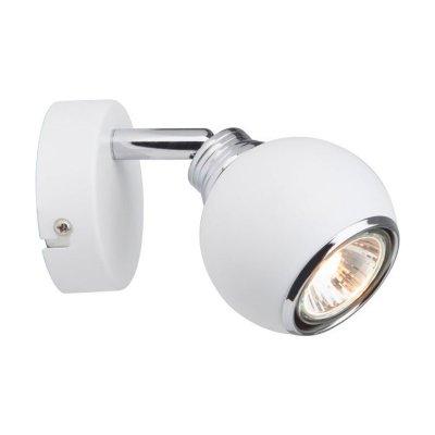 Светильник спот Brilliant G07710/05 белыйОдиночные<br>Зачастую мы ищем идеальное освещение для своего дома и уделяем этому достаточно много времени. Так, например, если нам нужен светильник с количеством ламп - 1 и цвет плафонов должен быть - белый, хром, а материал плафонов только металл! То нам, как вариант, подойдет модель - спот Brilliant G07710/05.<br><br>S освещ. до, м2: 1<br>Тип лампы: галогенная / LED-светодиодная<br>Тип цоколя: GU10<br>Количество ламп: 1<br>Ширина, мм: 78<br>MAX мощность ламп, Вт: 28<br>Диаметр, мм мм: 80<br>Выступ, мм: 155<br>Длина, мм: 110<br>Высота, мм: 110<br>Цвет арматуры: белый