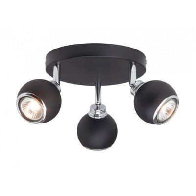 Светильник Brilliant G07734/06 InaТройные<br>Светильники-споты – это оригинальные изделия с современным дизайном. Они позволяют не ограничивать свою фантазию при выборе освещения для интерьера. Такие модели обеспечивают достаточно качественный свет. Благодаря компактным размерам Вы можете использовать несколько спотов для одного помещения.  Интернет-магазин «Светодом» предлагает необычный светильник-спот Brilliant G07734/06 по привлекательной цене. Эта модель станет отличным дополнением к люстре, выполненной в том же стиле. Перед оформлением заказа изучите характеристики изделия.  Купить светильник-спот Brilliant G07734/06 в нашем онлайн-магазине Вы можете либо с помощью формы на сайте, либо по указанным выше телефонам. Обратите внимание, что мы предлагаем доставку не только по Москве и Екатеринбургу, но и всем остальным российским городам.<br><br>S освещ. до, м2: 5<br>Тип лампы: галогенная / LED-светодиодная<br>Тип цоколя: GU10<br>Количество ламп: 3<br>MAX мощность ламп, Вт: 28<br>Диаметр, мм мм: 190<br>Выступ, мм: 155<br>Высота, мм: 110<br>Цвет арматуры: черный