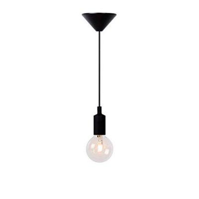 Подвесной светильник Lucide 08408/21/30Одиночные<br><br><br>Тип товара: Светильник подвесной<br>Скидка, %: 37<br>Тип лампы: накаливания / энергосбережения / LED-светодиодная<br>Тип цоколя: E27<br>Количество ламп: 1<br>MAX мощность ламп, Вт: 60<br>Высота, мм: 1200<br>Цвет арматуры: черный