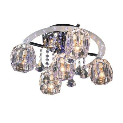 Люстра Геометрия 1-1608-5-CR-LED Y E14 МаксисветОжидается<br>Ключевое достоинство моделей - современный каркас, используемый в галогеновых светильниках, в сочетании с цоколем Е14.<br>Плафоны выполнены из высококачественного стекла.<br>Дополнительный декор - хрустальные подвесы.<br><br>S освещ. до, м2: 15<br>Тип цоколя: E14<br>Цвет арматуры: Хром<br>Количество ламп: 5<br>Ширина, мм: 450<br>Высота полная, мм: 240<br>Длина, мм: 450<br>Оттенок (цвет): Прозрачный