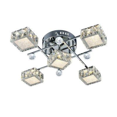 Люстра Геометрия 1-1692-5-CR-LED Y LED МаксисветОжидается<br><br><br>S освещ. до, м2: 16<br>Тип цоколя: LED<br>Цвет арматуры: Хром<br>Количество ламп: 5<br>Ширина, мм: 560<br>Высота полная, мм: 160<br>Длина, мм: 560<br>Оттенок (цвет): Прозрачный
