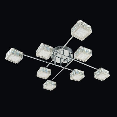 Люстра Геометрия 1-1692-8-CR Y LED МаксисветОжидается<br><br><br>S освещ. до, м2: 25<br>Тип цоколя: LED<br>Цвет арматуры: Хром<br>Количество ламп: 8<br>Ширина, мм: 710<br>Высота полная, мм: 160<br>Длина, мм: 710<br>Оттенок (цвет): Прозрачный