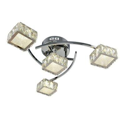 Люстра Геометрия 1-1696-4-CR Y LED МаксисветОжидается<br><br><br>S освещ. до, м2: 12<br>Тип цоколя: LED<br>Цвет арматуры: Хром<br>Количество ламп: 4<br>Ширина, мм: 510<br>Высота полная, мм: 170<br>Длина, мм: 530<br>Оттенок (цвет): Прозрачный