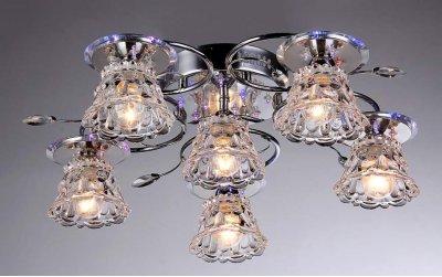 Люстра Флора 1-7441-6-CR LED Y E14 МаксисветОжидается<br>Ключевое достоинство моделей - современный каркас, используемый в галогеновых светильниках, в сочетании с цоколем Е14.<br>Плафоны выполнены из высококачественного стекла.<br>Дополнительный декор - хрустальные подвесы.<br><br>S освещ. до, м2: 18<br>Тип цоколя: E14<br>Цвет арматуры: Хром<br>Количество ламп: 6<br>Ширина, мм: 570<br>Высота полная, мм: 175<br>Длина, мм: 570<br>Оттенок (цвет): Прозрачный
