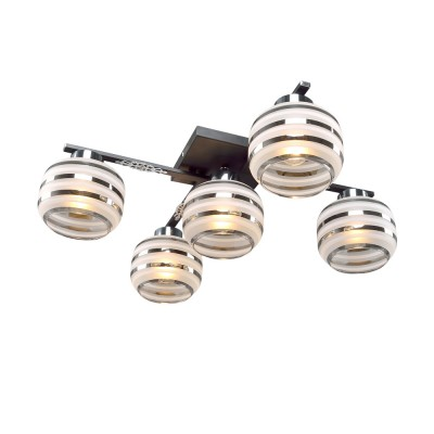 Люстра Универсал 1-8595-5-BK+CR Е14 МаксисветОжидается<br>Отличительные характеристики этой серии светильников коллекции Универсал крупные модерновые плафоны с рисунком в полоску и хромированные полоски на плафонах перекликаются с хромированными декоративными элементами светильника.<br>Серия светильников представлена в комплектации 3, 4 и 5 ламп, что позволит, при желании, использовать их комбинированно.<br>Стилевые решения интерьера: контемпорари<br>Тип помещения: кухня, холл, кабинет, прихожая.<br><br>S освещ. до, м2: 15<br>Тип цоколя: E14<br>Цвет арматуры: Черный<br>Количество ламп: 5<br>Ширина, мм: 590<br>Высота полная, мм: 220<br>Длина, мм: 590<br>Оттенок (цвет): Прозрачный