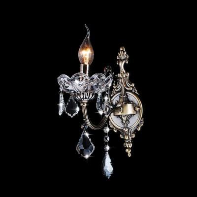 Светильник Евросвет 10005/1 античная бронза/прозрачный хрусталь StrotskisХрустальные<br><br><br>S освещ. до, м2: 4<br>Тип лампы: накаливания / энергосбережения / LED-светодиодная<br>Тип цоколя: E14<br>Количество ламп: 1<br>Ширина, мм: 100<br>MAX мощность ламп, Вт: 60<br>Расстояние от стены, мм: 200<br>Высота, мм: 250<br>Цвет арматуры: бронзовый