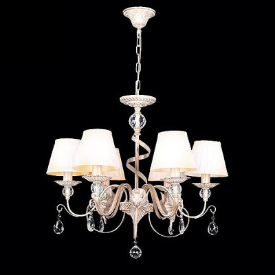 Светильник Евросвет 10040/6 белый с золотом/прозрачный хрустальПодвесные<br><br><br>S освещ. до, м2: 18<br>Скидка, %: 26<br>Тип лампы: Накаливания / энергосбережения / светодиодная<br>Тип цоколя: E14<br>Количество ламп: 6<br>MAX мощность ламп, Вт: 60<br>Диаметр, мм мм: 630<br>Высота, мм: 740 - 1040<br>Цвет арматуры: белый с золотистой патиной
