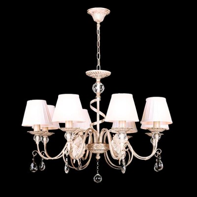 Светильник Евросвет 10040/8 белый с золотом/прозрачный хрустальПодвесные<br><br><br>S освещ. до, м2: 24<br>Скидка, %: 25<br>Тип лампы: Накаливания / энергосбережения / светодиодная<br>Тип цоколя: E14<br>Количество ламп: 8<br>MAX мощность ламп, Вт: 60<br>Диаметр, мм мм: 760<br>Высота, мм: 740 - 1040<br>Цвет арматуры: белый с золотистой патиной