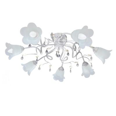 Аврора Флора 10042-7C Люстра потолочнаяПотолочные<br>Важными и отличительными особенностями модели светильника Аврора 10042-7C является металл белого цвета с золотистой патиной, стеклянные плафоны белого матового цвета, хрустальные подвески с габаритными размерами 820*270мм. Хотелось бы отметить российскую сборку в г. Самара с отечественными комплектующими.<br><br>Установка на натяжной потолок: Да<br>S освещ. до, м2: 21<br>Крепление: Планка<br>Тип лампы: накаливания / энергосбережения / LED-светодиодная<br>Тип цоколя: E14<br>Количество ламп: 7<br>MAX мощность ламп, Вт: 60<br>Диаметр, мм мм: 820<br>Размеры: 820*270<br>Высота, мм: 270<br>Поверхность арматуры: матовый<br>Оттенок (цвет): белый алебастр, неокрашенный<br>Цвет арматуры: белый с золотистой патиной<br>Общая мощность, Вт: 420