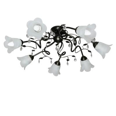 Аврора Флора 10043-7C Люстра потолочнаяПотолочные<br>Важными и отличительными особенностями модели светильника Аврора 10043-7C является металл коричневого цвета, стеклянные плафоны белого матового цвета, хрустальные подвески с габаритными размерами 820*270мм. Хотелось бы отметить российскую сборку в г. Самара с отечественными комплектующими.<br><br>Установка на натяжной потолок: Да<br>S освещ. до, м2: 21<br>Крепление: Планка<br>Тип товара: Люстра потолочная<br>Тип лампы: накаливания / энергосбережения / LED-светодиодная<br>Тип цоколя: E14<br>Количество ламп: 7<br>MAX мощность ламп, Вт: 60<br>Диаметр, мм мм: 820<br>Размеры: 820*270<br>Высота, мм: 270<br>Поверхность арматуры: матовый<br>Оттенок (цвет): белый алебастр, неокрашенный<br>Цвет арматуры: белый с золотистой патиной<br>Общая мощность, Вт: 420
