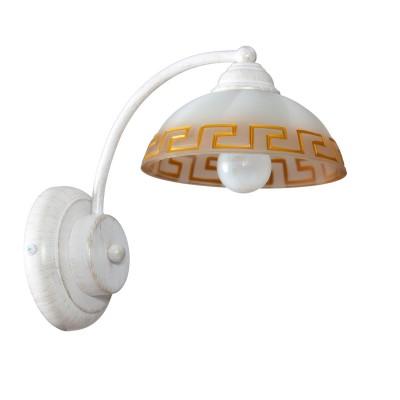 Аврора Афина 10053-1B Светильник настенный браМодерн<br>Важными и отличительными особенностями модели светильника Аврора 10053-1B является металл белого цвета с золотой патиной, теклянные плафоны с античным рисунком с габаритными размерами 170*220*240мм. Хотелось бы отметить российскую сборку в г. Самара с отечественными комплектующими.<br><br>Цветовая t, К: 2400-2800<br>Тип лампы: накаливания / энергосберегающая / светодиодная<br>Тип цоколя: E14<br>Количество ламп: 1<br>Ширина, мм: 170<br>MAX мощность ламп, Вт: 60<br>Выступ, мм: 240<br>Размеры: 170*220*240<br>Расстояние от стены, мм: 240<br>Высота, мм: 220<br>Поверхность арматуры: матовый<br>Цвет арматуры: белый с золотистой патиной