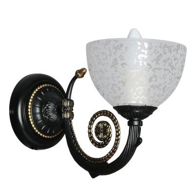 Аврора Барокко 10058-1B Светильник настенный браКлассические<br>Важными и отличительными особенностями модели светильника Аврора 10058-1B является металл черный с золочением, плафоны стеклянные с цветочным рисунком с габаритными размерами 150*200*290мм. Хотелось бы отметить российскую сборку в г. Самара с отечественными комплектующими.<br><br>Тип лампы: накаливания / энергосбережения / LED-светодиодная<br>Тип цоколя: E14<br>Количество ламп: 1<br>Ширина, мм: 150<br>MAX мощность ламп, Вт: 60<br>Выступ, мм: 290<br>Размеры: 150*200*290<br>Расстояние от стены, мм: 290<br>Высота, мм: 200<br>Поверхность арматуры: матовый<br>Оттенок (цвет): белый с неокрашенным рисунком<br>Цвет арматуры: золотой с чернением