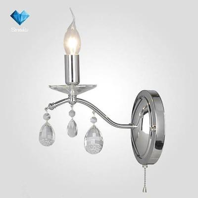 Евросвет 10059/1 хром/прозрачный хрусталь StrotskisКлассические<br><br><br>Тип лампы: Накаливания / энергосбережения / светодиодная<br>Тип цоколя: E14<br>Количество ламп: 1<br>Ширина, мм: 240<br>MAX мощность ламп, Вт: 60<br>Расстояние от стены, мм: 240<br>Высота, мм: 300<br>Цвет арматуры: серебристый