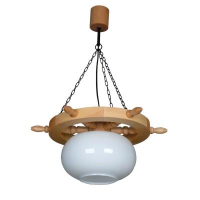 Аврора Штурвал 10071-1L1 ЛюстраПодвесные<br>Важными и отличительными особенностями модели светильника Аврора 10071-1L1 является дерево натурального цвета,  стеклянные выдувные плафоны молочного цвета с габаритными размерами 460*650мм. Хотелось бы отметить российскую сборку в г. Самара с отечественными комплектующими.<br><br>Установка на натяжной потолок: Да<br>S освещ. до, м2: 1<br>Крепление: Крюк<br>Тип лампы: накаливания / энергосберегающая / светодиодная<br>Тип цоколя: Е27<br>Количество ламп: 1<br>MAX мощность ламп, Вт: 60<br>Диаметр, мм мм: 460<br>Размеры: 460*650<br>Высота, мм: 650<br>Цвет арматуры: черный