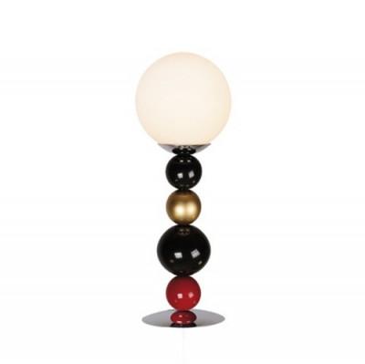 Аврора Леонардо 10152-1N Настольная лампаСовременные<br>Позитивная коллекция Леонардо поднимет настроение ее обладателю. Каркас украшен шарами из дерева, окрашенными в разноцветную эмаль модных цветов. Яркий свет ламп слегка приглушат стеклянные шаровидные плафоны. Отлично подойдет для оформления интерьеров в современном стиле, в том числе детских и молодежных комнат.<br><br>Тип лампы: Накаливания / энергосбережения / светодиодная<br>Тип цоколя: Е14<br>Количество ламп: 1<br>MAX мощность ламп, Вт: 40<br>Размеры: 140*400<br>Оттенок (цвет): металл хром, разноцветные шары
